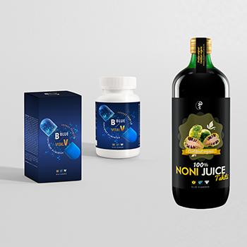 Pachet promotional Blue Vital Premium si Noni Juice Tahiti 100% organic